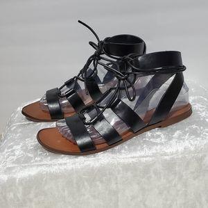 Zara Basic Collection Black Strapy Tie Sandals